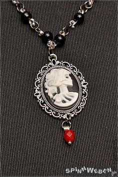 Skeletal Bust Amulet  necklace locket setting cameo by SpinnWeben, €22.00