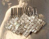 TRUE Vintage Old Hollywood Art Deco Rhinestone Bridal Hair Comb, OOAK Brooch Haircomb