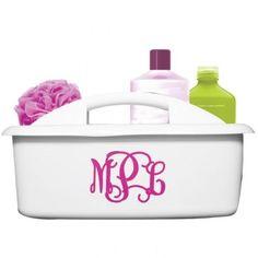 Monogrammed Organizer Caddy ~ Shower Caddy  White with Hot Pink Interlocking Font