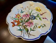 A beautiful plate for your walls; needs a string on back; The Dish, Frosted Glass, Floral Motif, Plates On Wall, Spring Flowers, Vintage Items, Delicate, Italy, Tableware