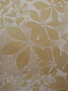 Marthe Armitage chestnut leaves handprinted wallpaper linocut hogarth museum exhibition