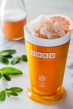 Tart grapefruit and cool mint make the perfect pair! New recipe on the blog: Grapefruit Mint Slush.