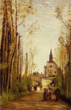 Marissal, Path to the Front of the Church - Camille Corot 1866