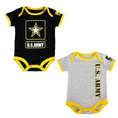 2 pk set includes a black bodysuit with bold logo print and the second bodysuit is jersey gray with a US Army logo. 100% soft cotton with an easy snap bottom.
