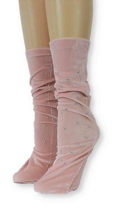Ribbed Pink Velvet Socks with Beads Velvet Socks, Pink Velvet, Crew Socks, Leg Warmers, Comfy, Beads, Unique, Spandex, Modern