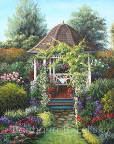 'Gazebo Among the Roses' by Barbara R. Felisky