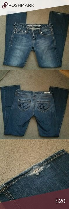 """Express Stella Boot jeans Perfect condition.  Slight wear on bottom as shown in pics. Inseam in 33"""" Jeans have never been dried. Only hung to dry. These are a 6R. Express Jeans Boot Cut"""