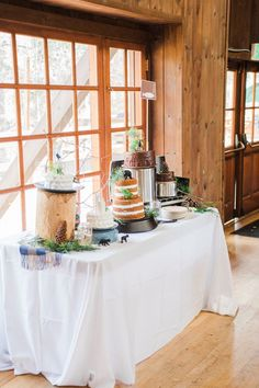 Cake Table from a Rustic Camping Birthday Party via Kara's Party Ideas | KarasPartyIdeas.com (24)