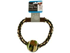 Camouflage Rope & Ball Dog Toy