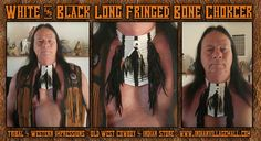 Long Side Fringed White And Black Bone Choker With Center Disk  From Tribal And Western IMpressions- Old West Cowboy And Indian Store - www.indianvillagemall.com