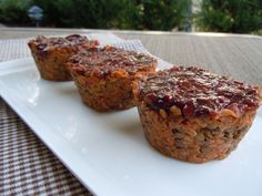 BBQ Lentil Loaf Muffins - only needs 1 T ground flaxseed - no molasses; makes 10