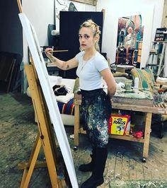 """jemima-kirke-art: """"Painting Allison Williams. Photo credit: A. Williams """""""
