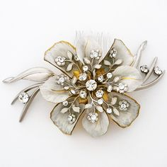 Heal The World Flower Comb ~ Paris by Debra Moreland Bridal Hair Jewelry, Heal the world flower comb. Vintage bridal hair comb defining boho glam. Wear to the side or back.