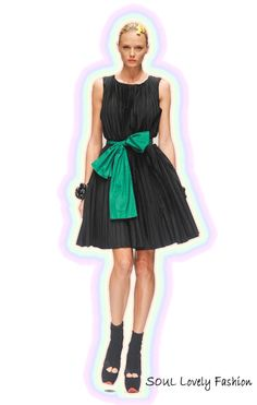Spring Flower Bow, in a Pleated L.B.D     Bows & Pleats are Feminine Trends 4 Spring-Summer 2012.    Krizia Spring-Summer 2012.
