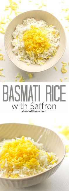 Basmati Rice with Saffron: Basmati rice with saffron is an essential side in Middle Eastern diets. Make it in 15 minutes with this easy-to-follow recipe   aheadofthyme.com