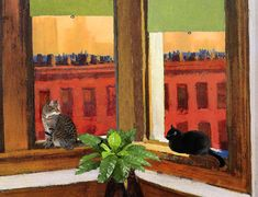 Edward Hopper Cat Art Print, Matted, Gifts For Friends, Cat Gifts, Cat Wall Art,  Giclee Art Print, Deborah Julian
