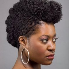 Beautiful, moist, curly natural up-do pompadour.