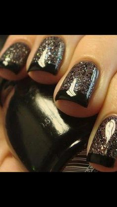 Glitter and Black french tipped
