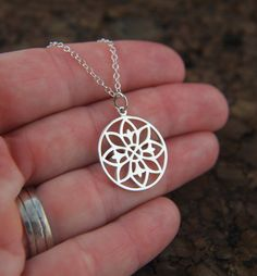 Mandala pendant necklace in sterling silver by jersey608jewelry, $34.00