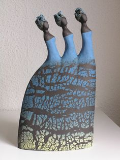 Sisters in black 1 Beautiful graceful women -black clay slip 43x30x14 sold