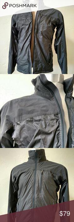 REI grey run wind jacket Small Lightweight wind jacket from REI.  3 zipper pockets, full zipper front, internal hole for headphones. Jackets & Coats Performance Jackets