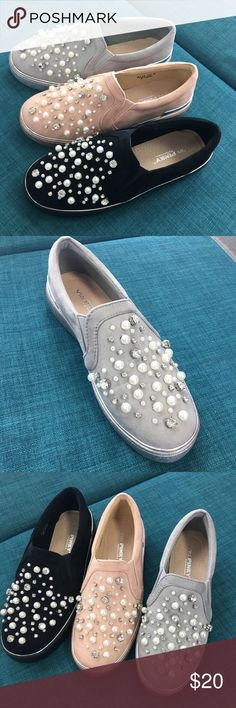 Grey pearl slip on Grey slip on sneaker with faux pearl and diamond front design. Also in pink and black. Price is final. Shoes Sneakers