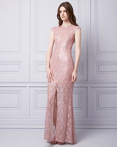 Sequin   Lace Crew Neck Gown - From its high neckline to its sultry front  slit. FlitterekRuhaCsipke b0073e5308