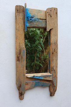 Driftwood Mirror,Drift Wood old painted Wood Mirror,Driftwood Fishing Boat Wood £175.00