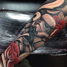 Stormtrooper With Rose Flowers Tattoo by Craigholmestattoo