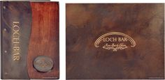 Wood menu cover, Loch Bar. A collection of wood and copper restaurant menu covers decorated with embossed and buffed artwork.