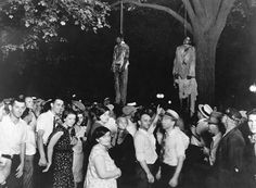 Abe Smith and Tom Shipp were convicted of robbery and rape in 1930. A crowd broke into the jailhouse, and lynched and hanged them on the 7th of August 1930. Smith tried to free him self from the noose, following which he was lowered and his hands were broken. This image stands in remembrance of the injustice of racism, where these two African American youths were taken out of their jails, to be given a more severe than agreed upon punishment