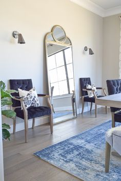 zdesign at home spring tour Pyne Hollyhock charcoal fabric pillow black velvet tufted chair sherwin williams midful gray paint color gold floor mirror vintage inspried navy rug-2