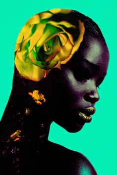 "66lanvin: "" devoutfashion: "" Rose Beauty Shoot with Model Ataui Deng Photographer: Jamie Nelson Makeup: Vincent Oquendo @ See Management Hair: Lacy Redway "" Our LADY of the FLOWERS………….No.3 """