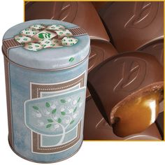 Girl Scout tin filled with caramel treasures.