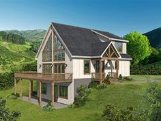 062H-0277: Mountain House Plan Designed for a View Mountain House Plans, Lake House Plans, Family House Plans, Best House Plans, House Floor Plans, Story Mountain, Mountain Homes, Porch House Plans, Family Houses