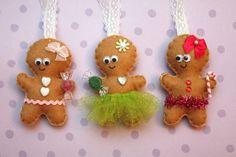 Gingerbread Girl Felt Christmas Ornament