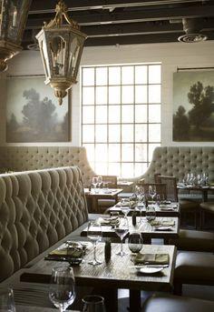 LaV Austin Texas, incredible restaurant design, tufted back panels, exposed beams