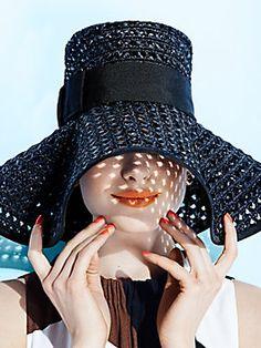 rio de janeiro crocheted sun hat, black
