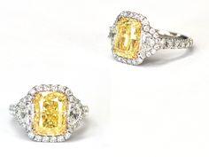 Custom 5.19 Carat Cushion Cut Natural Fancy Yellow and White Diamond Ring