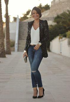 black sequin jacket, white tee-shirt, faded jeans, Naughty Monkey heels