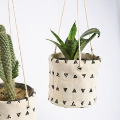 Canvas plant hanger, set of 3 baskets - Pots & Planters Garden Home Décor Hanging Fabric, Hanging Planters, Planter Pots, Home Decor Baskets, Plant Aesthetic, Plant Basket, Plant Decor, Decoration, Plant Hanger