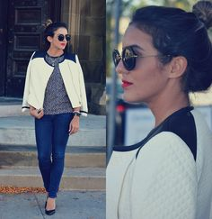 Miu Miu Round Sunnies, Club Monaco Quilted Jacket With Leather Accents, Christian Louboutin Pumps