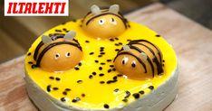 Persikanpuolikkaista tehdyt mehiläiskoristeet ovat yksi kevään ehdottomista leivontahiteistä. Pudding, Desserts, Food, Tuli, Cakes, Meal, Custard Pudding, Deserts, Essen