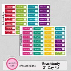 56 Beachbody 21 Day Fix Workout Stickers - for Erin Condren, Life Planner, Plum Paper, Filofax, Kikki k and Scrapbook! 21 Day Fix Workouts, Beachbody 21 Day Fix, Portion Control Containers, Plum Paper, Kikki K, Better Love, Erin Condren, Life Planner, 21 Days