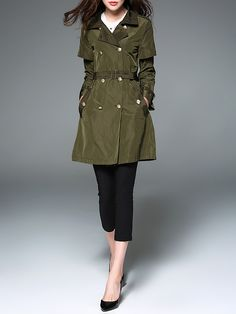 Shop Coats - Army Green Simple Buttoned Coat online. Discover unique designers fashion at StyleWe.com.