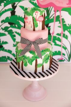 It's no secret that I am a huge fan of flamingos and banana leaf... Throw some black and white stripes in the mix, and I am in heaven! So na...