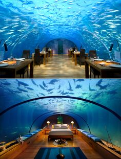 Before and after: the restaurant of Conrad Rangali Island Hotel in the Maldives, which lies 3 to 6 feet underwater depending on the tide, has been transformed into a luxury bedroom suite.