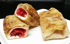 Cherry Pie Filling + Cream Cheese + a Flour Tortilla = These Crispy, Sugary Cherry Pie Chimichangas No Egg Desserts, Easy Desserts, Delicious Desserts, Dessert Recipes, Yummy Food, Awesome Desserts, Dessert Bars, Dessert Ideas, Cherry Recipes