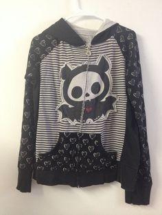 Hot Topic Skelanimals sz XL Black White Heart Diego Bat Halloween Hoodie Jacket #HotTopic #Hoodie
