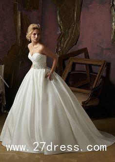 custom made A-line Sweetheart Floor-Length Satin Beaded Wedding Dresses from 27dress.com, #wedding #dress